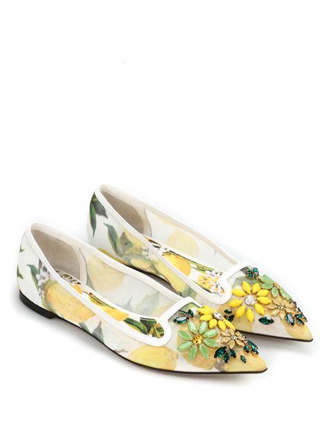 Flat Shoes Original Catenzo 248 lemon printed tulle ballerinas by dolce gabbana flat