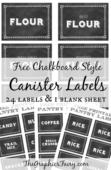Kitchen Flour Canisters by Printable Canister Labels The Graphics Fairy