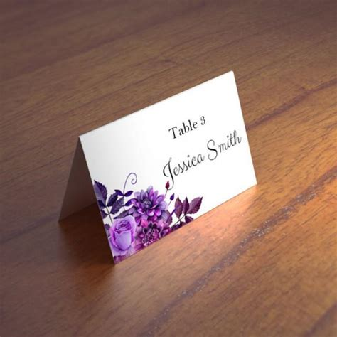 purple reserved cards template purple wedding name cards templates boho wedding place