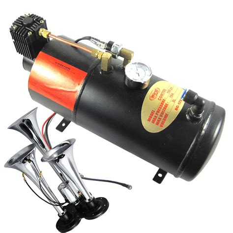 12v air compressor 150db with 3 trumpet air horn kit 150 psi air system ebay