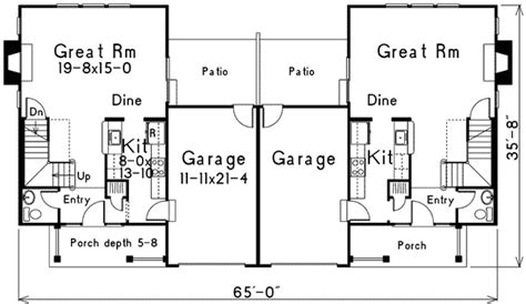 two story duplex floor plans compact two story duplex 57088ha architectural designs