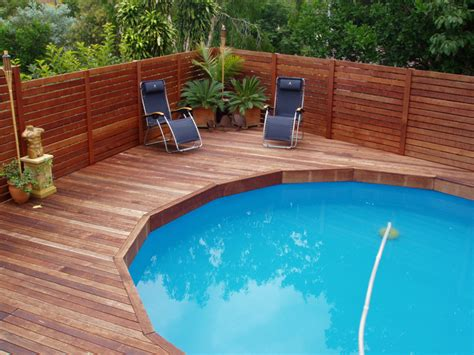 Landscape Timbers Around Above Ground Pool Pool Deck Framing Pics Kwila Deck Built Ontop Of An