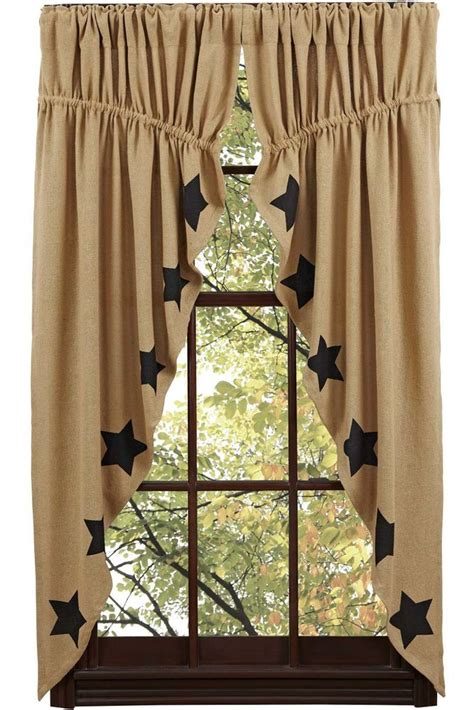 country swag curtains new primitive country sturbridge black star burlap prairie