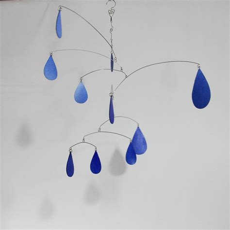 Design Apartment by Custom Made Rain Drops Art Mobile Spring Shower Hanging Kinetic Sculpture Watercolor By