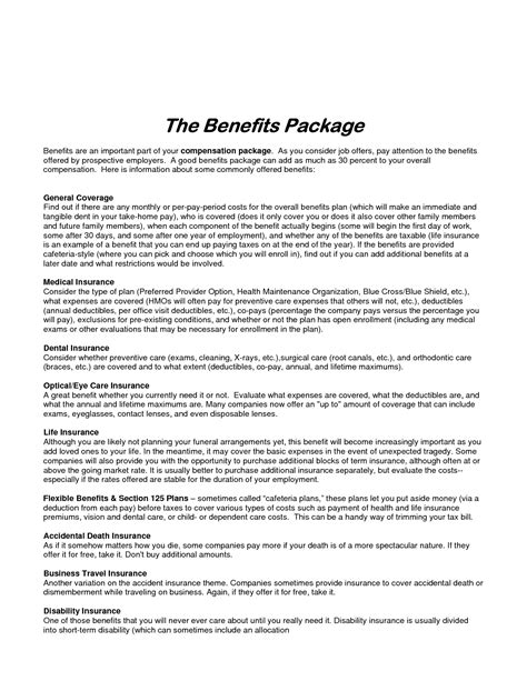 compensation package template best photos of sle employee benefit package sle