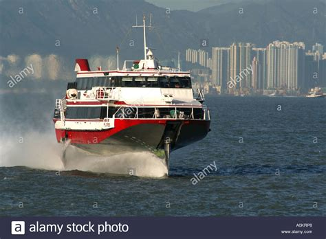 jet boat hong kong macau ferry on its way back to hong kong turbojet stock