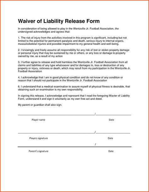 Liability Waiver Form Form Trakore Document Templates Personal Liability Waiver Template
