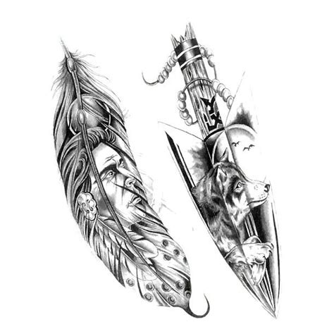 indian feather arrow tattoo design