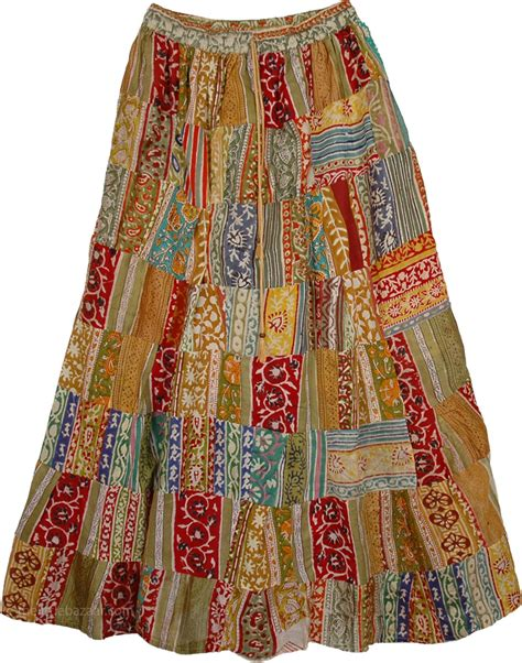 Patchwork Skirts - earthen patchwork skirt clothing patchwork