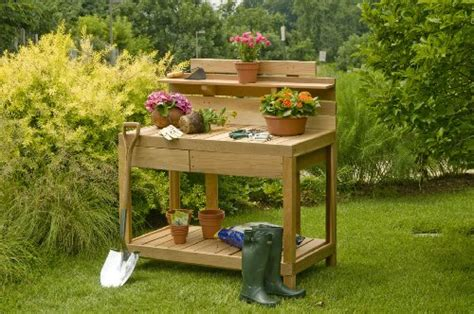 cheap potting bench high l post made of cedar treated with thompson s