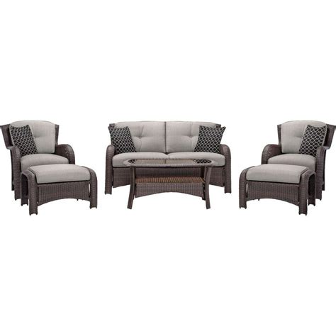 all weather wicker deep seating cushion outdoor recliner hanover strathmere 6 piece all weather wicker patio deep