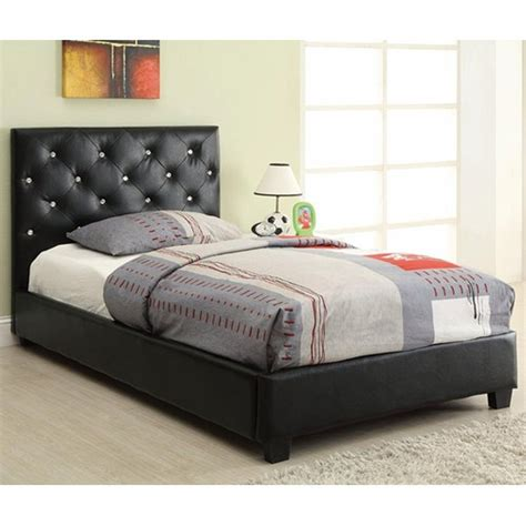 coaster 300391t black twin size leather bed steal a sofa