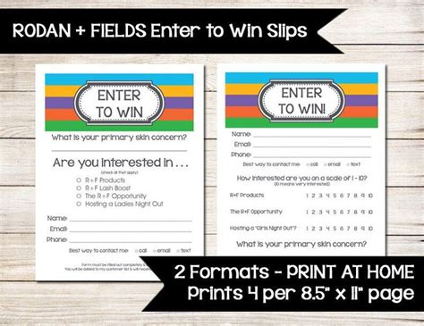 enter to win form template enter to win raffle ticket drawing slip door prize form