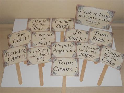12 wedding photo booth props personalised sign vintage style lots of designs available on