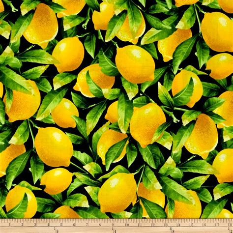 Fresh Squeezed Lemon Black   Discount Designer Fabric