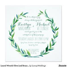 Peridot Wedding Invitation Paper by Faux Gold Laurel Wreath Olive Leaf Branch Square Card