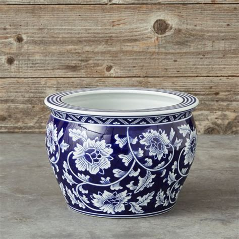 Blue And White Pottery Planters by Blue White Ceramic Planter Medium Williams Sonoma