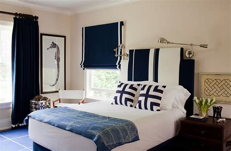 nautical themed bedroom dark blue roman shade with white border for the nautical
