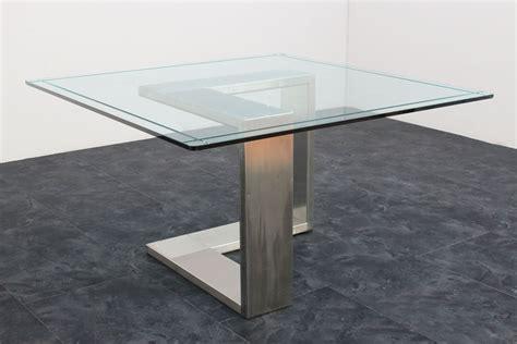 tavolo anni 70 tavolo acciaio e vetro anni 70 135x136x71h marco polo