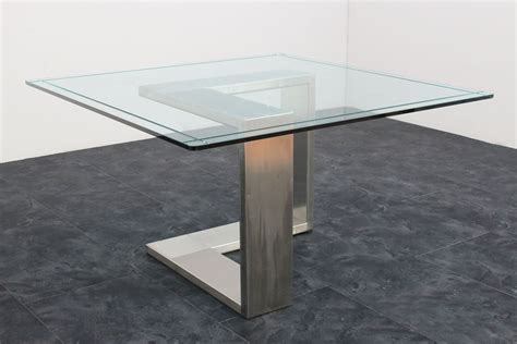 tavolo acciaio e vetro tavolo acciaio e vetro anni 70 135x136x71h marco polo