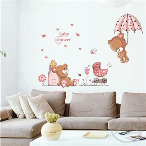 cute home decor lovely cute bear wall stickers children room home decor