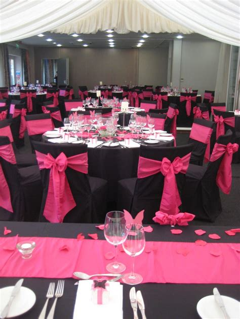 Magenta Chair Sashes Black And Pink Wedding Table Settings Www Pixshark Com