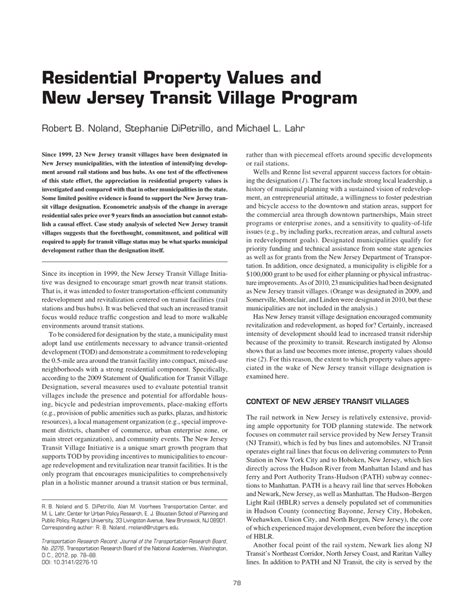 residential property values and new jersey transit