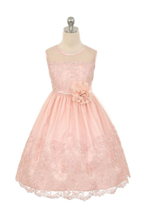 Flower Pink Tweety Dress blush pink embroidered tulle overlayed flower dress