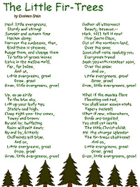 the little christmas tree poem the fir trees poem by evaleen stein