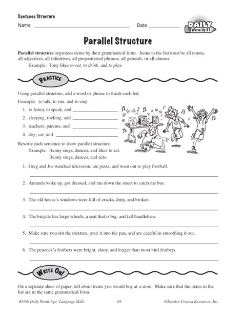 Parallel Structure Worksheet With Answers by All Worksheets 187 Sentence Structure Worksheets Pdf