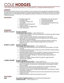 teacher assistant resumes best letter sample