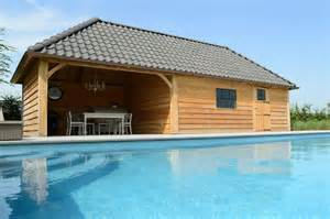 House With Pool Eikenhouten Poolhouse Met Stormpan