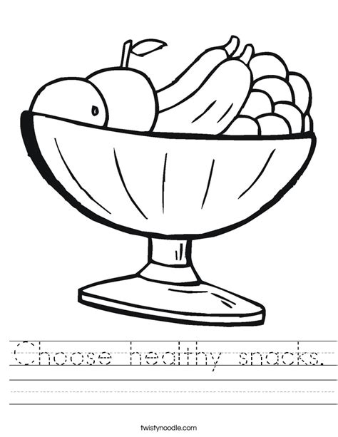 choose healthy snacks worksheet twisty noodle