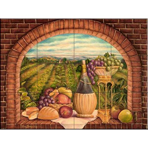 home depot wall murals the tile mural store tuscan wine ii 24 in x 18 in ceramic mural wall tile 15 1691 2418 6c