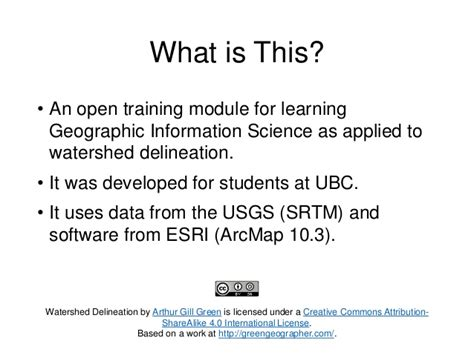 Open Mba Modules by Watershed Delineation Using Arcmap