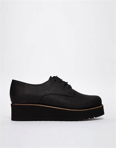 shoe biz shoe biz leather creeper flat shoes at asos