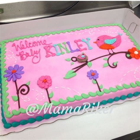 Full sheet cake. Girl's baby shower. Buttercream iced and
