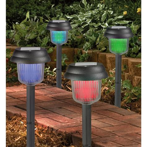 Colored Solar Lights Outdoor 4 Color Changing Solar Lights 158840 Solar Outdoor Lighting At Sportsman S Guide