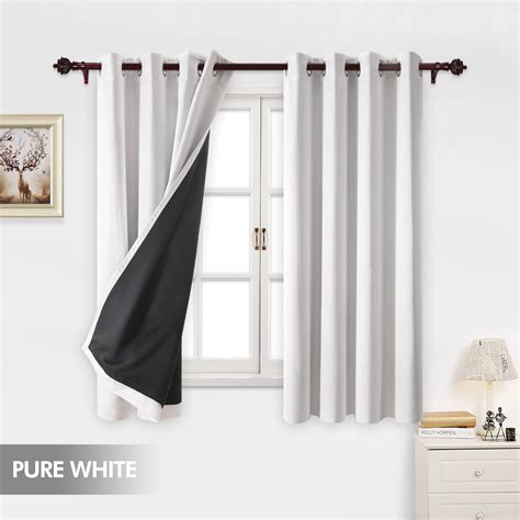 room blackout curtains deconovo total white blackout curtains grommet thermal insulated room darkening ebay