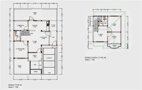 Rumah Pedesaan Sederhana Skala 64 desain dan denah rumah minimalis type 90 desain denah