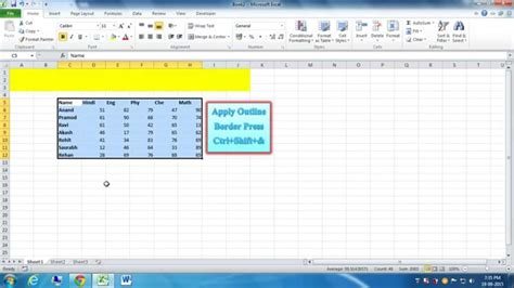 excel comfort systems keyboard shortcut to apply or remove outline border in excel