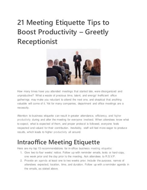 21 meeting etiquette tips to boost productivity greetly receptionist