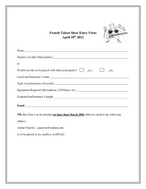 talent show registration form template printable sign up sheet forms and templates fillable