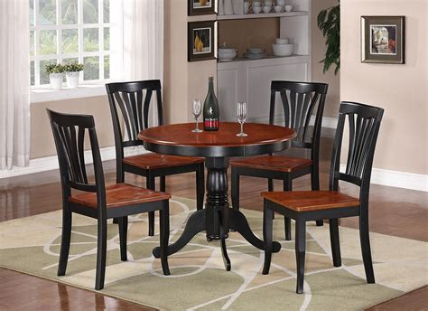 3pc Round Table Dinette Kitchen Table 2 Chairs Black Table And Chair Sets For Kitchen