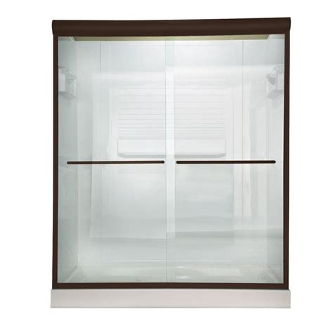 American Standard Euro 60 In X 70 In Semi Framed Bypass Clear Glass Shower Door