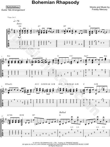 fingerstyle tutorial bohemian rhapsody kelly valleau quot bohemian rhapsody quot guitar tab in g major