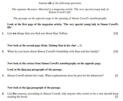list of questions for celebrities why is simon cowell rude gcse exam questions condemned by