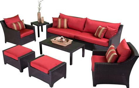 Cantina 7 Piece Sofa Seating Set With Chairs Ottomans Sofa Table With Seating