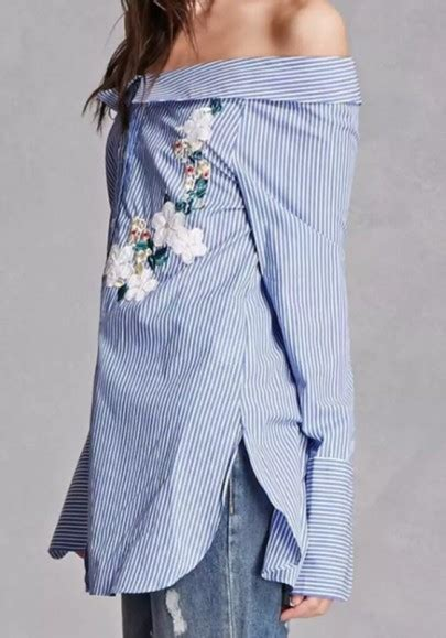 43509 Blue Striped Embriodery Blouse blue striped embroidery boat neck sleeve fashion