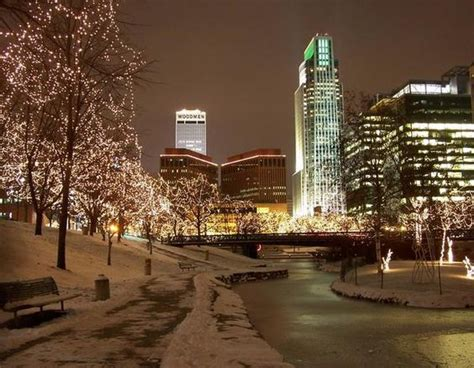 omaha lights downtown in the winter and on